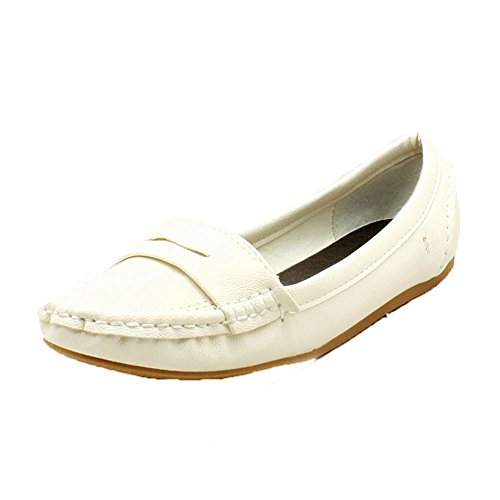 White flat pumps loafer shoes style ladies qSxwFnpn