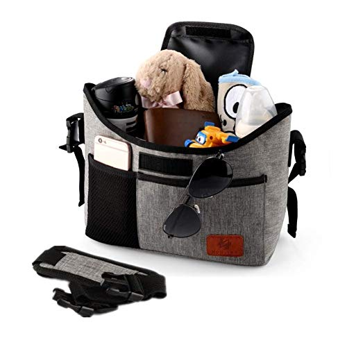 Baby Stroller Organizer Bag with 2 XL Cup Holders and Large Storage Diaper Bag for Universal Stroller Accessories (Grey) ()