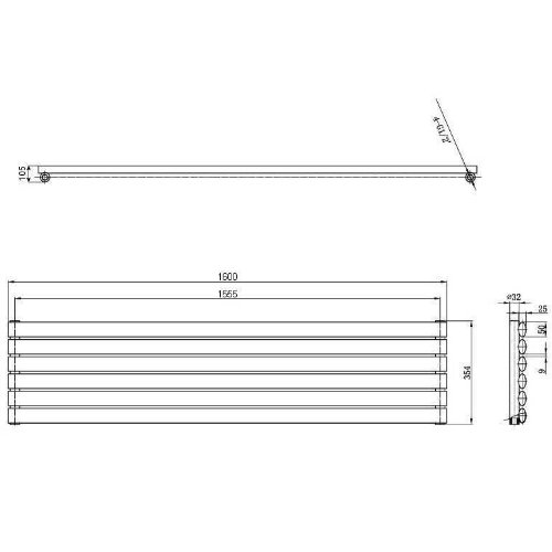 Radiateur Design Vitality Installation Horizontale 1600 x 354mm Hudson Reed Chauffage Central