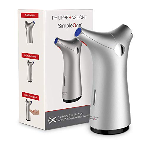Simpleone Automatic Touchless Soap Dispenser Stylish Design - Sensor Pump - Perfect for Bathroom and Kitchen - Liquid Silver