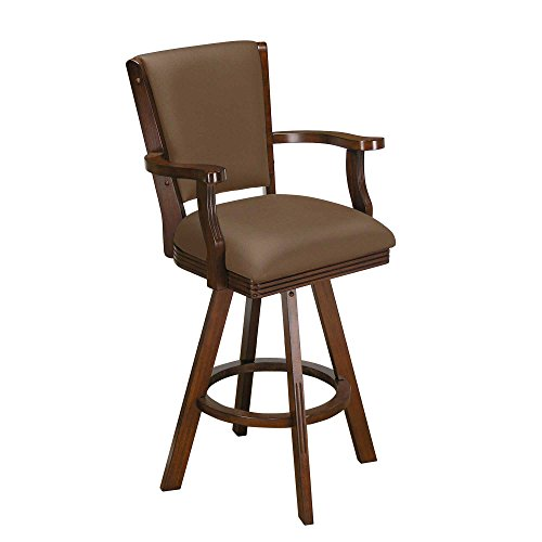 Game Room Bar Stool with 360 degree swivel in Chestnut finish For Sale