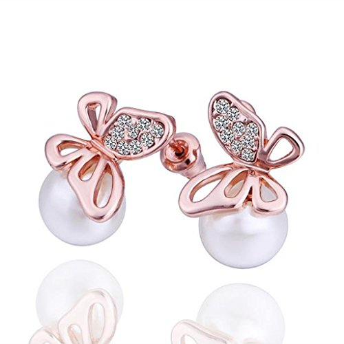 Alimab Gold Plated Womens Stud Earrings Butterfly Pearl Rose Gold Antiallergy