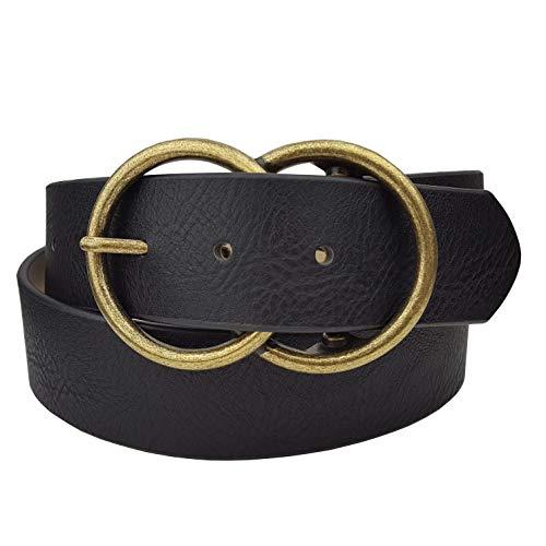 Brass Womens Belt Buckle - Vegan Leathrette Jean Belt with Double Round Buckle (S, Black/Brass)