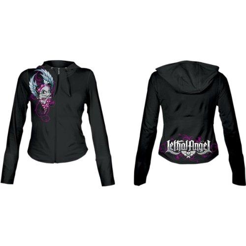 Lethal Threat Women's Girl Skull Hoodie (Black, Large)