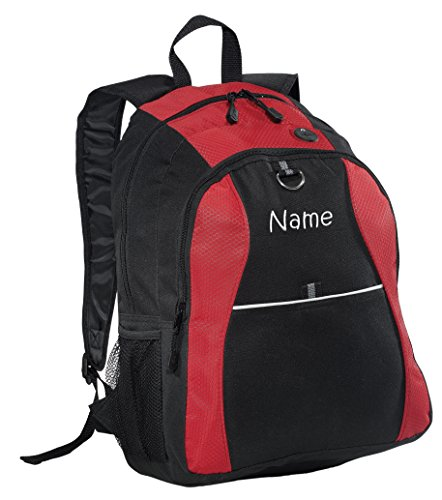 Kids Embroidered Backpacks (Personalized Red Contrast Backpack with Embroidered)