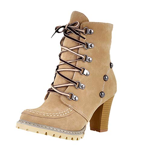 Sunyastor Women's Leisure Rivets Shoes,Fashion Studded Round Toe Lace Up Chunky High Heels Ankle Short Tube Boots Shoes