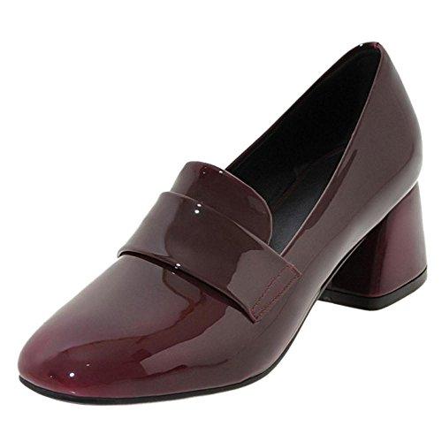 TAOFFEN Women's Block Heel Court Shoes Claret uxWdP