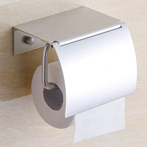 Toilet Paper Holder Wall Mounted with Phone Shelf Tray for Bathroom Restroom Hotel,Aluminum TP Holder Wall Mount with Cover Lid Metal Modern Rust Free Universal Tissue fit Mega Roll,Matte Silver