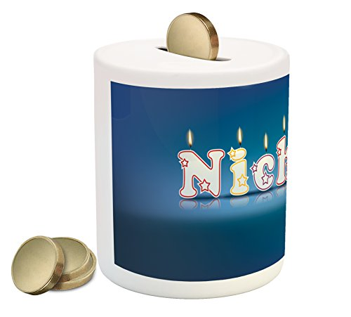 Ambesonne Nicholas Coin Box Bank, Surprise Party for The Birthday Boy Child`s Name with Burning Candles, Printed Ceramic Coin Bank Money Box for Cash Saving, Blue and Multicolor by Ambesonne