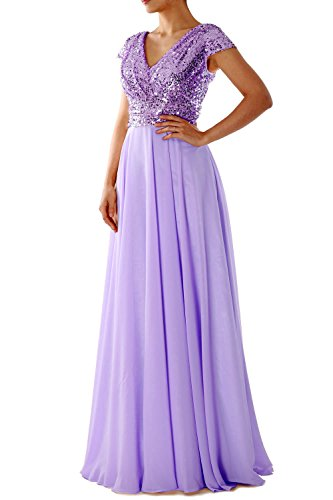 Macloth Sleeve V Mother Sequin Of The Bride Evening Lavender Cap Neck Dress Gown Formal rwq5rBC