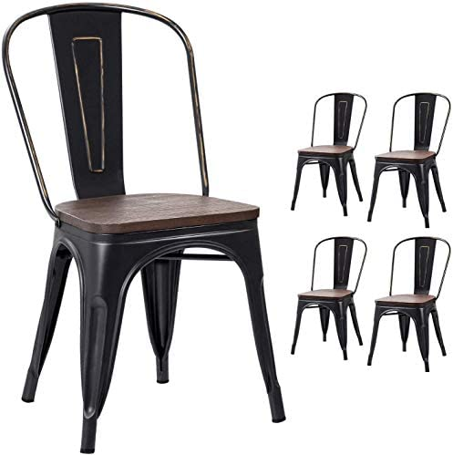 VICTONE Metal Dining Chair Indoor-Outdoor Use Stackable Chic Dining Bistro Cafe Side Metal Chairs Set of 4 Black Gold