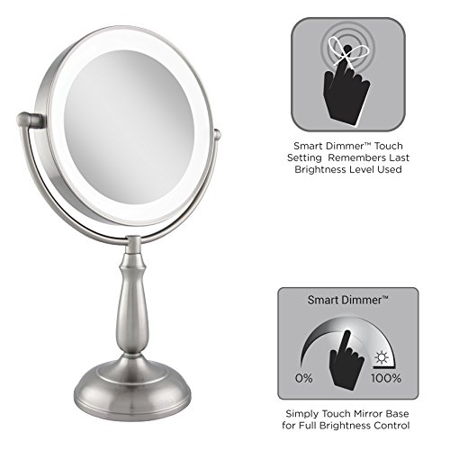 Zadro Satin Nickel Dual Sided Led Lighted Dimmable Touch Vanity Mirror, 12X / 1X Magnification by Zadro (Image #4)