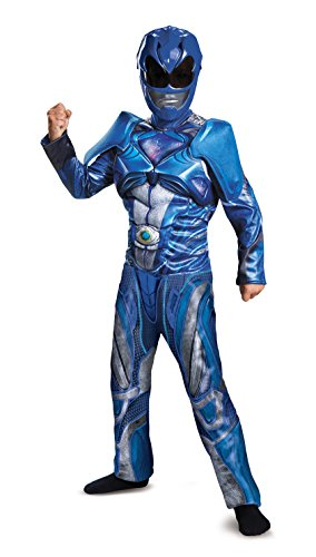 Power Ranger Movie Classic Muscle Costume, Blue, Large (2017 Boys Halloween Costumes)