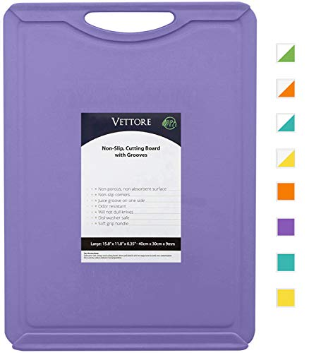 "Vettore Non Slip Poly Cutting Boards With Juice Groove Dishwasher Safe BPA Free Plastic FDA Compliant, Kitchen, Non Porous (15.8"" x 11.8"", Solid Purple)"
