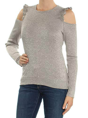 Nylon Metallic Sweater (DKNY Womens Cold Shoulder Metallic Pullover Sweater Silver M)