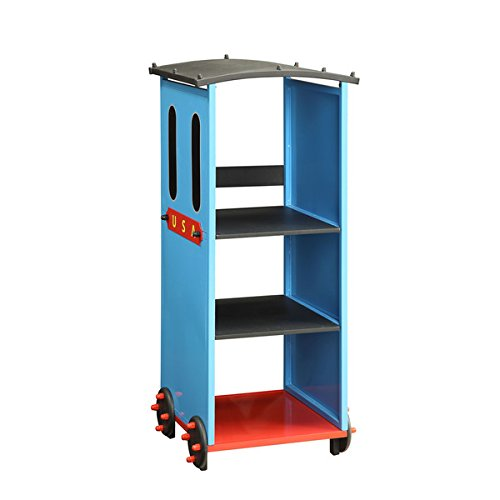 Tobi Kids' Train-theme Blue/Red/Black Metal/MDF Bookcase