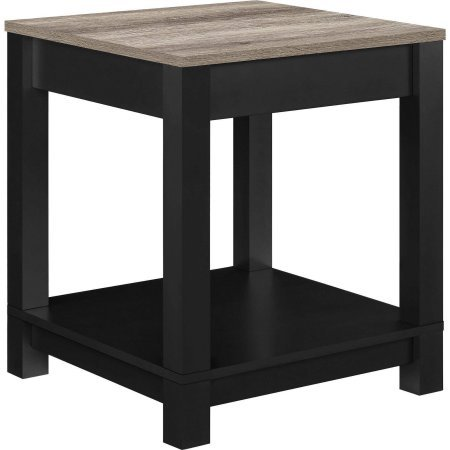 Langley Bay End Table with Storage Space, Soft Painted Black Finish