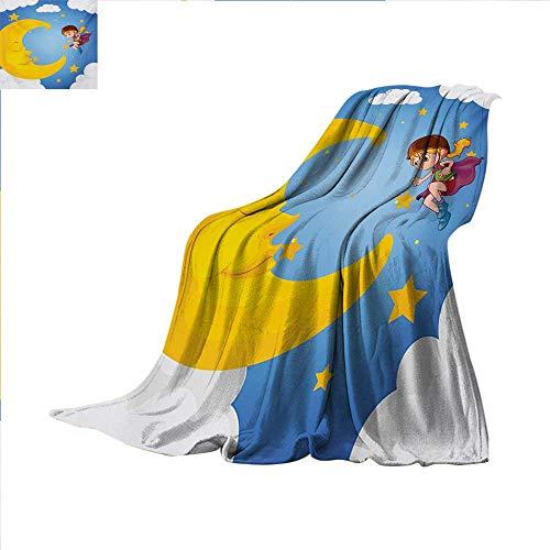 Explore Super Soft Lightweight Blanket Cartoon Girl with Cap and Helmet Near The Sleeping Crescent Moon Superhero Theme Oversized Travel Throw Cover Blanket 70 x 60 inch (Moon Motorcycle Helmet)