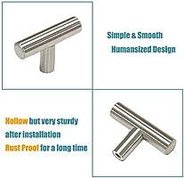 Tiradores de armario de acero inoxidable y n/íquel cepillado Dise/ño en T para puertas de barras de cocina 5/cm de longitud