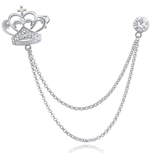 (DMI Unique Jewelry Rhinestone Beautiful Crown Shape Chain Brooch pin Silver-Tone)