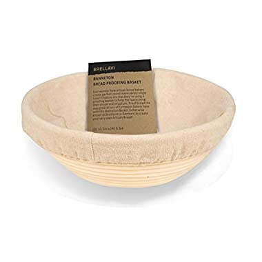 10.5 Inch Banneton Proofing Basket with FREE Cloth Liner + Sillicone Bowl Scraper + Instructions & Recipe - Creates Beautiful Ring Pattern - Oval Proofing Bowl for Artisan Bread Loaf & Dough Rising
