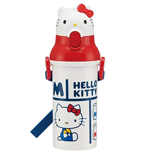 Character World Retro Face Hello Kitty Water Bottle with Strap(34.3'') for Kids Girls Boys, Leak Proof, 16oz (480ml) ((Retro Face) Hello -