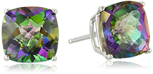 Sterling Silver Cushion-Cut Checkerboard Mystic Fire Topaz Stud Earrings ()