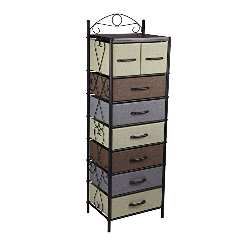 Household Essentials 8044-1 Victorian 8 Drawer Tower | Storage Dresser or Chest | Black