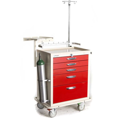 Blue Bell Medical 89024 BAC-24, Deluxe Crash Cart,Professional Emergency Medical Crash Supply Cart For Anesthesia Treatment And Medical Equipment (Medical Storage Carts)