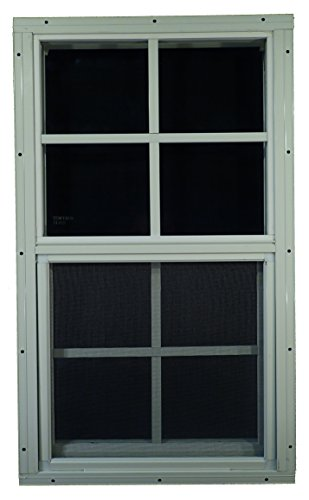 "Shed Windows 12"" W x 18"" H - Flush Mount w/Safety Glass - Playhouse Windows (White)"