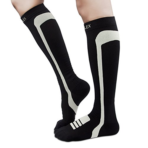 HIGHFLEX Compression Socks Women and Men 20-30 mmHg Athletic Fit Compression Stockings for Running, Travel, Nurse, Pregnancy, Edema, Boost Calf Circulation, Surgery Recovery-Cushioned Sole-Black-Large