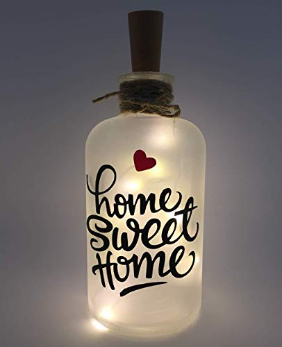Flaschenlicht individuell LED Lichterkette Home Sweet Home Love Home Made in Germany