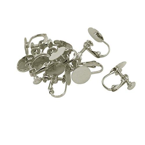 Design Earrings Back Screw (Jili Online 10 Piece Brass Screw Back Clip On Earring Hook Blank Base Pad 10mm Cabochons Jewelry Design Crafts Findings - Silver)
