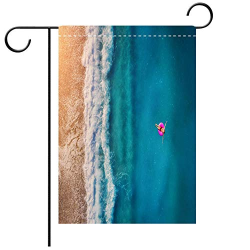 - Double Sided Premium Garden Flag Aerial view of young woman swimming on the pink swim ring in the transparent turquoise sea in Oludeniz Summer seascape Best for Party Yard and Home Outdoor Decor