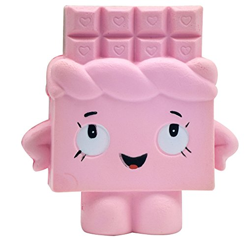 Squishy Slow Rising Toy Stress Reliever Strawberry Cake Hand Wrist Toy (Pink chocolate)