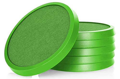 Comfortena Silicone Drink Coasters with Absorbent Felt | Easy-Clean 6-Piece Table Set for Glasses, Cups, and Mugs | Perfect for Tables with Wood, Marble, Glass, Slate, or Leather Surface | Lime Green