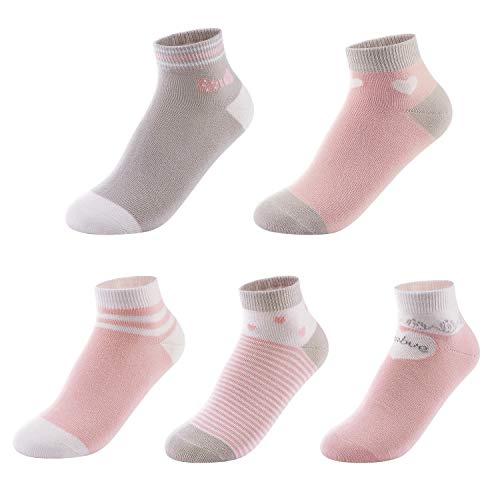 SUNBVE Little Big Girls Adorable Cotton No Show Socks 5 Pack