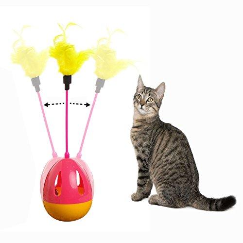 OFKPO Katze Spielzeug Bälle,Feder Drehung Katze Spielzeug,Interaktive Feather Tumbler Katzenspielzeug
