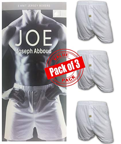 Joseph Abboud Men's 3 Pack Knit Jersey Boxers (Large, White)