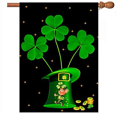 DEN LONG St. Patrick's Day Garden Flag,Lucky Clover/Hat St Patricks Flag,St. Patrick's Day Garden Flag 28 x 40 Double…