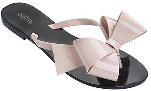 Melissa Womens Harmonic Bow Iii Flip Flop  Black Pink  7 M Us