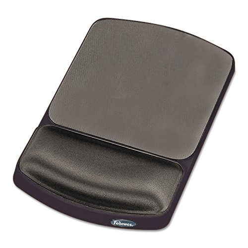 Fellowes Gel Wrist Rest and Mouse Pad - Graphite/Platinum - 10.1quot; x 6.3quot; x 0.9quot; - Platinum, Graphite - Gel, (Graphite Fellowes Gel)