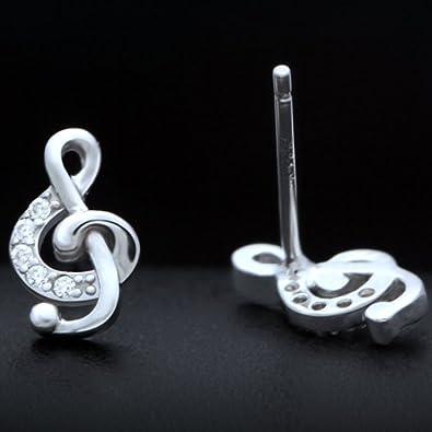 Celebrity Jewellery Pendientes plata de ley 925 dise/ño de notas musicales