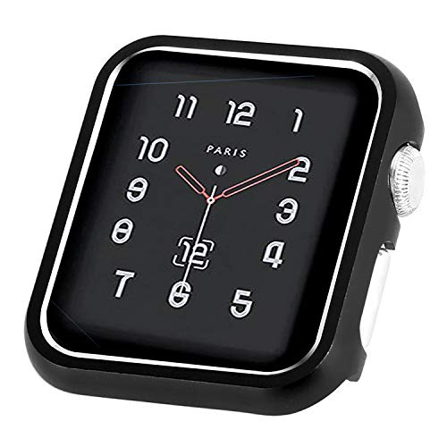 CooBES Compatible with Apple Watch Case 38mm 42mm, Metal Bumper Protective Cover Aluminum Alloy Frame Bling Shiny Protector Compatible iWatch Series 3/2/1(Matte Black, 42mm)