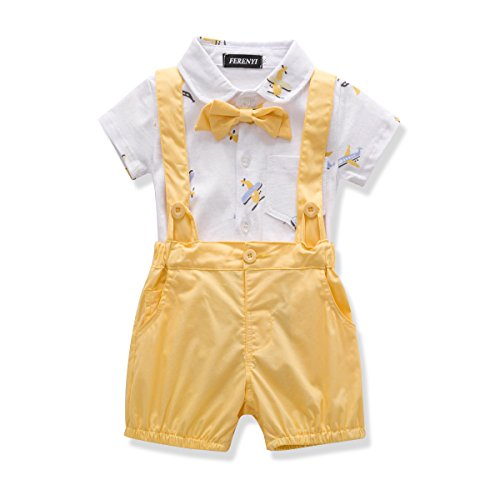 FERENYI US Baby Boys Bowtie Gentleman Romper Jumpsuit Overalls Rompers (7-12 Months, Yellow)