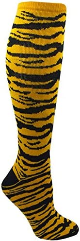 (Small, Gold/Black) - Red Lion Safari Acrylic Over the Calf Athletic Socks