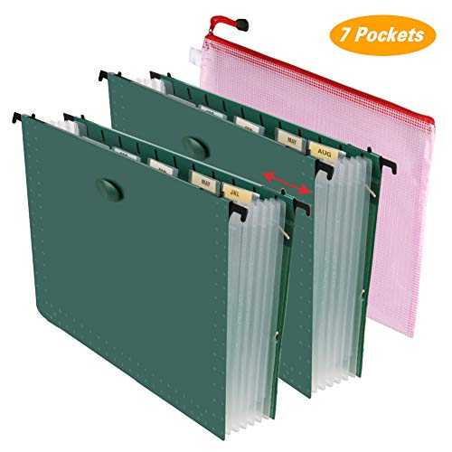 BluePower Hanging File Folders Letter Size File Organizer Expanding File Folder Accordian File Box with 7 Pockets Paper Document Organizer Retractable Hooks (2 File Organizer and 1 Zipper File - Hanging Pockets Expanding