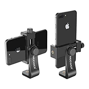 Neewer Smartphone Holder Vertical Bracket with 1/4-inch Tripod Mount - Phone Clip Tripod Adapter for iPhone X 8 7 Plus 7 6 Plus, Samsung S8 S7 S6 and Other Phones Within 1.9-3.9 inches Width (Black)