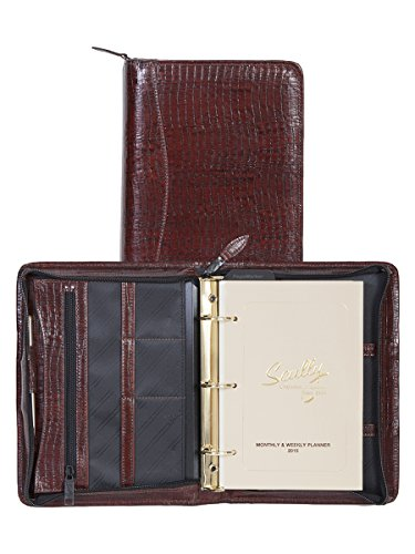 Scully 8053Z-0 Unisex Leather Zip Weekly Organizer, Brown - 61 - Leather Zip Weekly Organizer