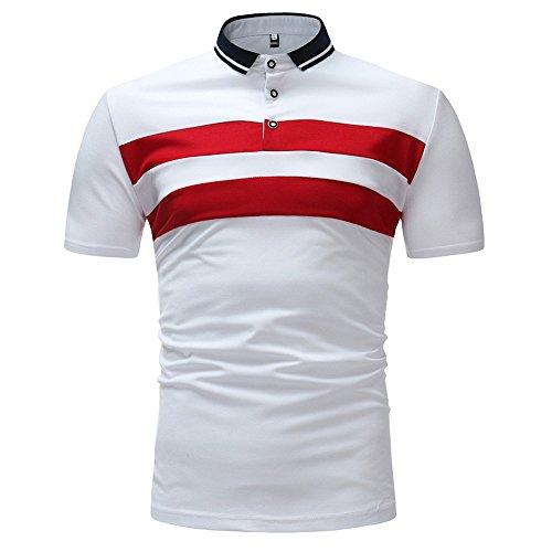 Joopee Men Fashion Casual Slim Fit Button Transverse Sewn Stripe Printed Tops Polo Shirt for Boys Teens (L, White)